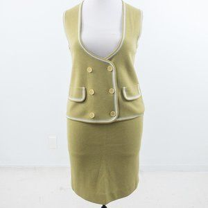 Vintage 50s 10 Wool Knit 2pc Set Vest Skirt Green